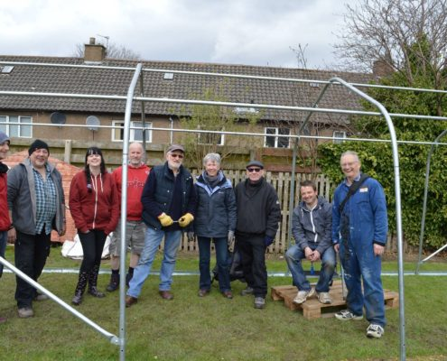 Our polytunnel being built