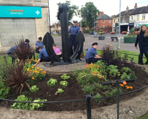 Sea Cadets planting at the Anchor bed