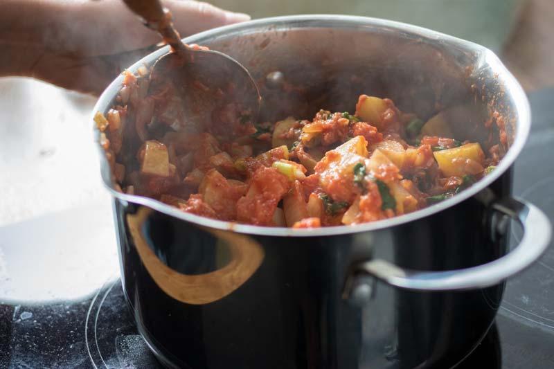 Tuna bake mix in pan