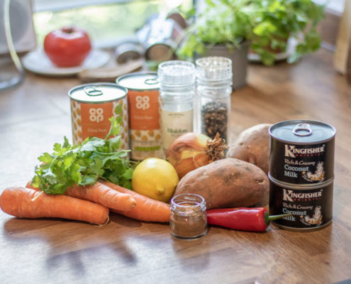 Chickpea curry ingredients
