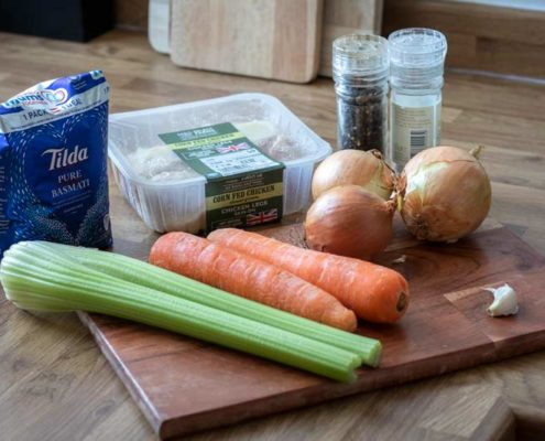Soup ingredients on a chopping board