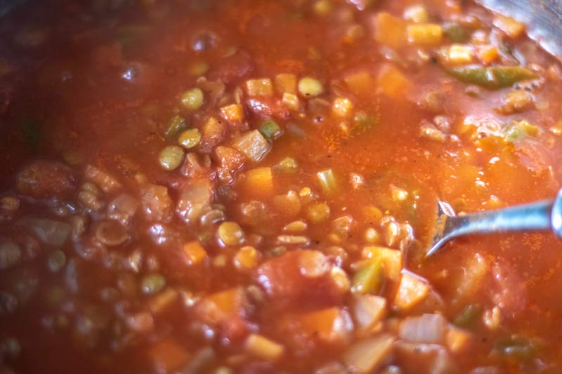 Ragu simmering in pot