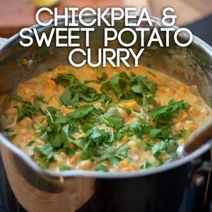 Chickpea & sweet potato curry square