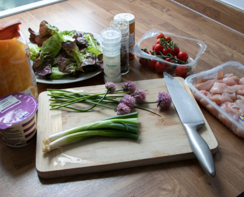 Photo of the ingredients o the chicken pasta salad