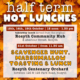 Promotional image showing dates and times of hot takeaway lunch provision